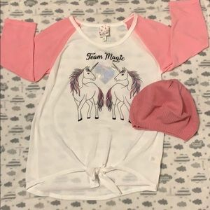 Girls Unicorn Top with matching beanie